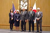 Recipients of Japanese government awards in 2013 included, from left; The Colorado Japanese Language Education Association (Mrs. Kaoru SLOTSVE), Dr. Jeanette MISAKA, Mr. Ronald OTSUKA, Mr. Isao KAMITANI, Mr. Paul MARUYAMA,